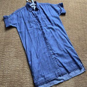 Madewell denim shirt dress with side pockets